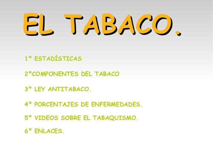 EL TABACO. 1º ESTADÍSTICAS 2ºCOMPONENTES DEL TABACO 3º LEY ANTITABACO. 4º PORCENTAJES DE ENFERMEDADES. 5º VIDEOS SOBRE EL ...