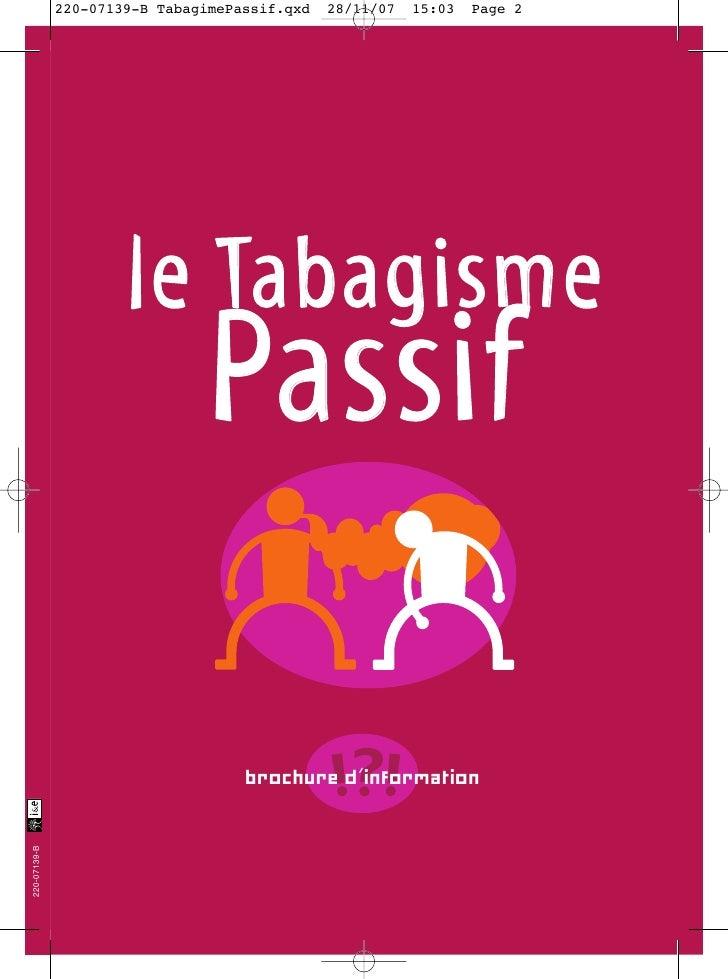 le Tabagisme   Passif    brochure d'information