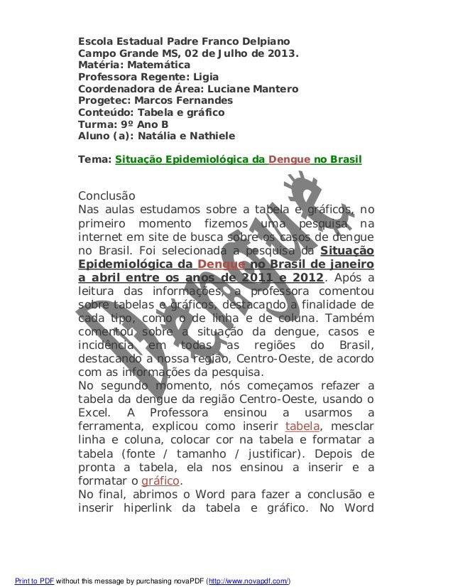 Escola Estadual Padre Franco Delpiano Campo Grande MS, 02 de Julho de 2013. Matéria: Matemática Professora Regente: Ligia ...