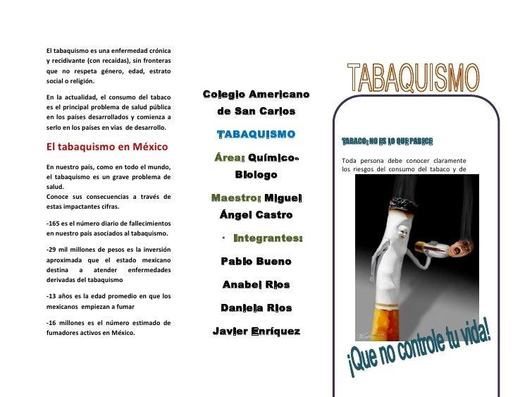 El tabaquismo es una enfermedad crónica y recidivante (con recaídas), sin fronteras que no respeta género, edad, estrato s...