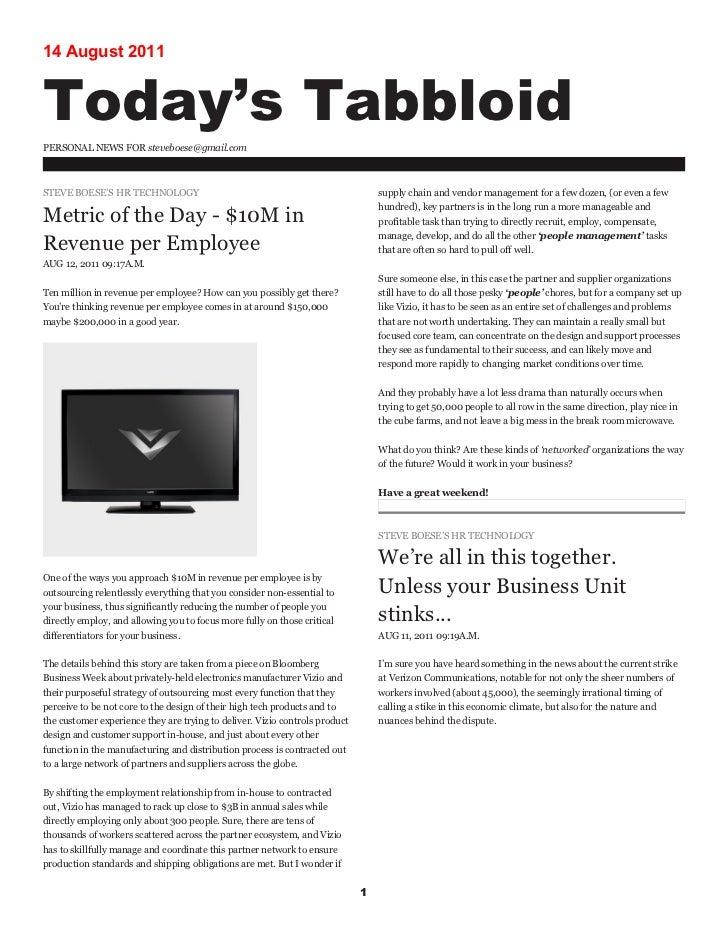 Steve's Blog - Week of August 8, 2011