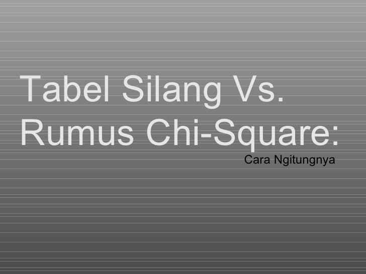 Tabel Silang  Vs.  Rumus Chi-Square : Cara Ngitungnya