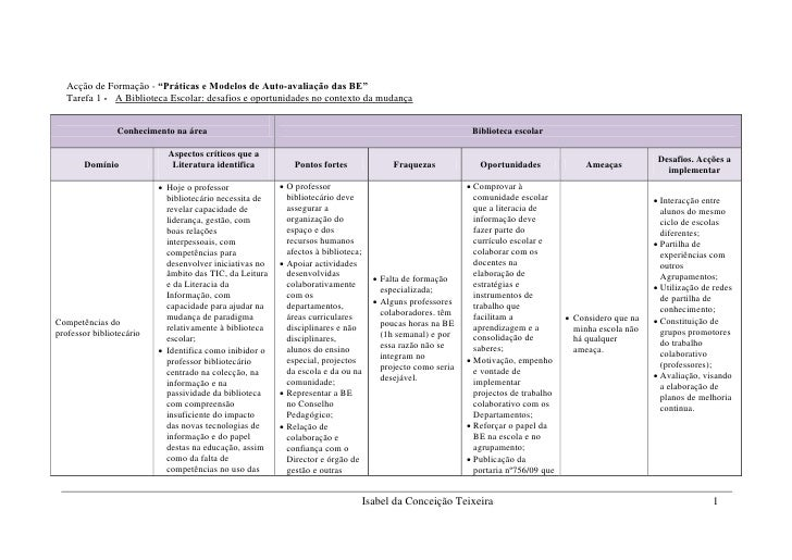 """Acção de Formação - """"Práticas e Modelos de Auto-avaliação das BE""""    Tarefa 1 - A Biblioteca Escolar: desafios e oportunid..."""