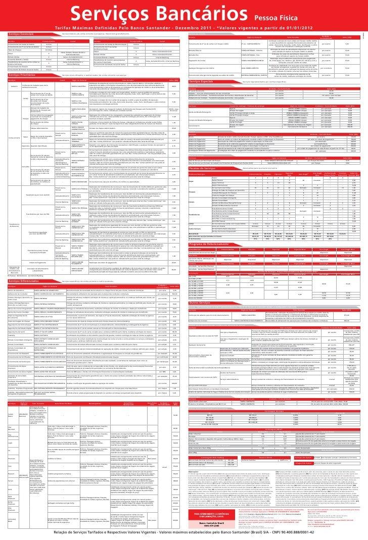Serviços Bancários                                                                    Tarifas Máximas Definidas Pelo Banco...