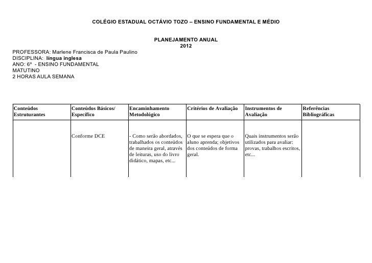 COLÉGIO ESTADUAL OCTÁVIO TOZO – ENSINO FUNDAMENTAL E MÉDIO                                                      PLANEJAMEN...