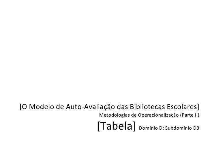 [O Modelo de Auto-Avaliação das Bibliotecas Escolares]                        Metodologias de Operacionalização (Parte II)...