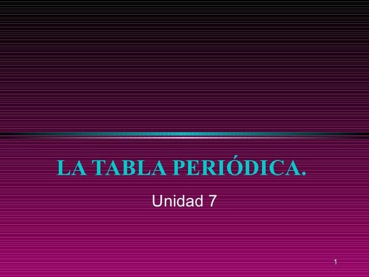 LA TABLA PERIÓDICA. Unidad 7