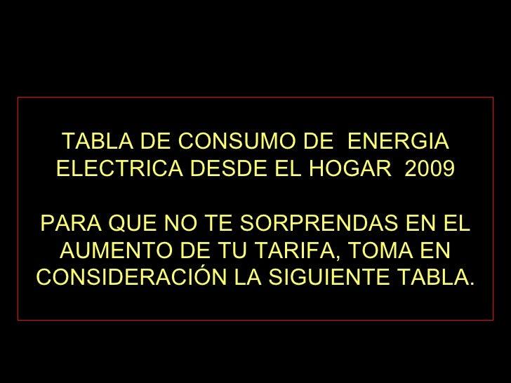 TABLA DE CONSUMO DE  ENERGIA ELECTRICA DESDE EL HOGAR  2009 PARA QUE NO TE SORPRENDAS EN EL AUMENTO DE TU TARIFA, TOMA EN ...