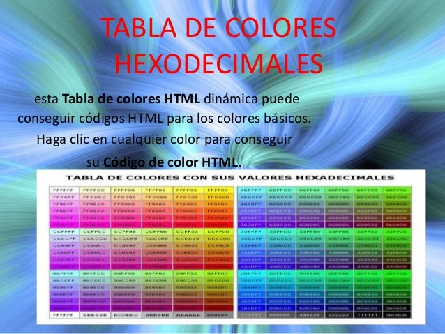 TABLA DE COLORES HEXODECIMALES esta Tabla de colores HTML dinámica puede conseguir códigos HTML para los colores básicos. ...