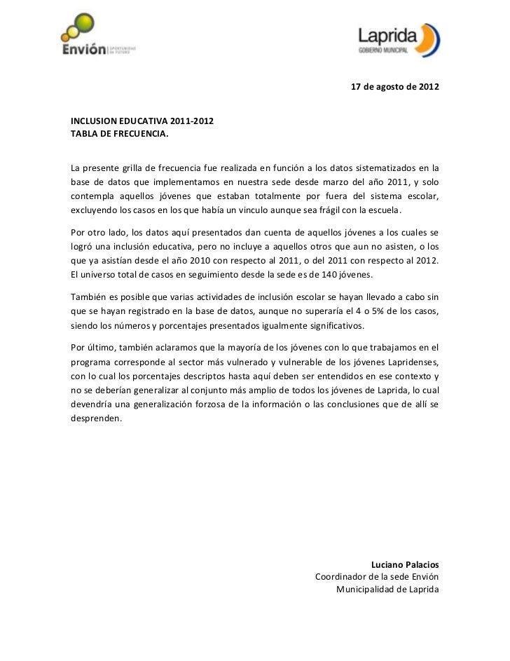 17 de agosto de 2012INCLUSION EDUCATIVA 2011-2012TABLA DE FRECUENCIA.La presente grilla de frecuencia fue realizada en fun...
