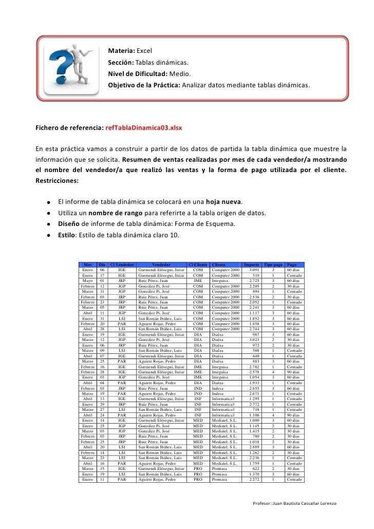 Materia: Excel                              Sección: Tablas dinámicas.                              Nivel de Dificultad: M...