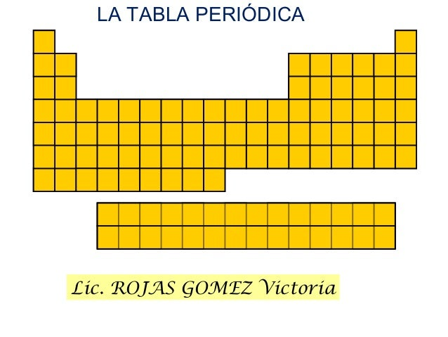 Lic. ROJAS GOMEZ Victoria LA TABLA PERIÓDICA
