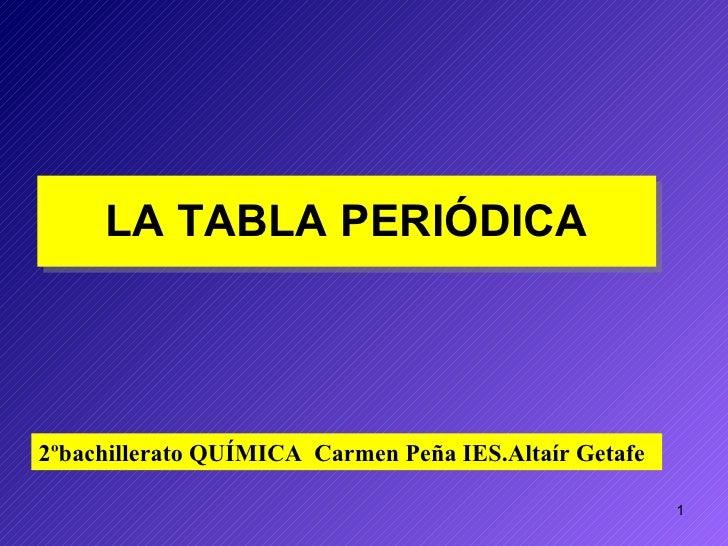 LA TABLA PERIÓDICA 2ºbachillerato QUÍMICA  Carmen Peña IES.Altaír Getafe