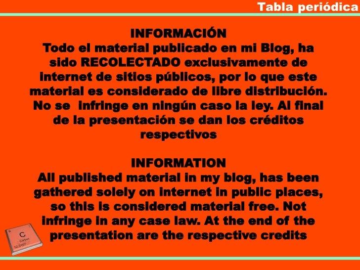 Tabla periódica                INFORMACIÓN  Todo el material publicado en mi Blog, ha   sido RECOLECTADO exclusivamente de...