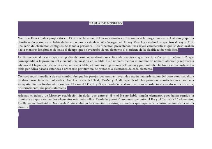 TABLA DE MOSELEYVan den Broek había propuesto en 1912 que la mitad del peso atómico correspondía a la carga nuclear del át...