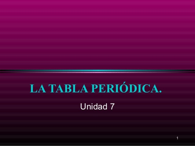 LA TABLA PERIÓDICA.       Unidad 7                      1