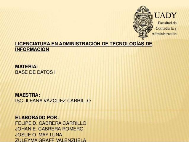 LICENCIATURA EN ADMINISTRACIÓN DE TECNOLOGÍAS DEINFORMACIÓNMATERIA:BASE DE DATOS IMAESTRA:ISC. ILEANA VÁZQUEZ CARRILLOELAB...