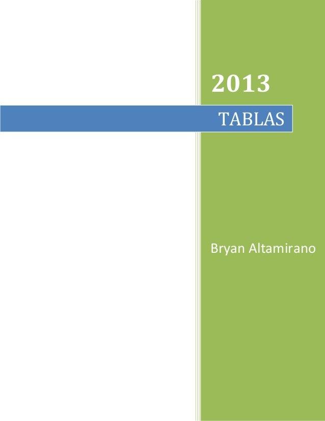2013 TABLAS  Bryan Altamirano