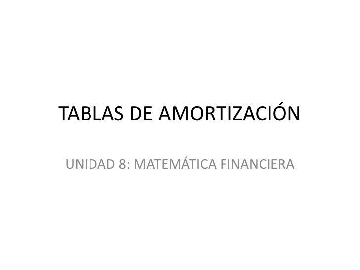 TABLAS DE AMORTIZACIÓN<br />UNIDAD 8: MATEMÁTICA FINANCIERA<br />