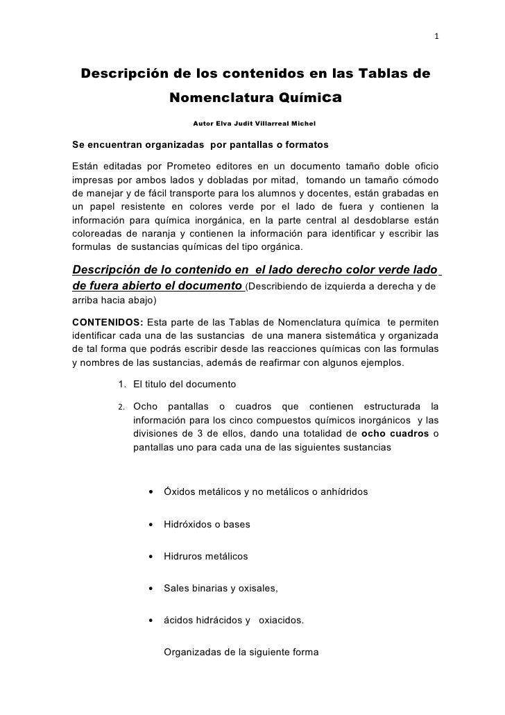 1 Descripción de los contenidos en las Tablas de                       Nomenclatura Química                            Aut...