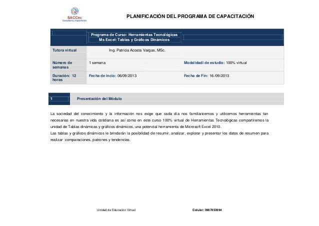 PLANIFICACIÓN DEL PROGRAMA DE CAPACITACIÓN Unidad de Educación Virtual Celular: 0987853994 Programa de Curso: Herramientas...