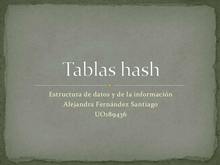 Estructura de datos y de la información<br />Alejandra Fernández Santiago<br />UO189436<br />Tablas hash<br />
