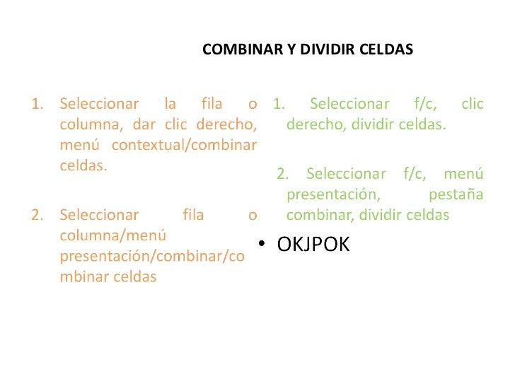 COMBINAR Y DIVIDIR CELDAS