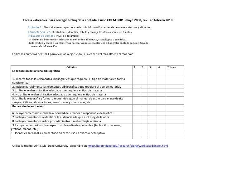 <br />              Escala valorativa  para corregir bibliografía anotada  Curso COEM 3001, mayo 2008, rev.  en febrer...