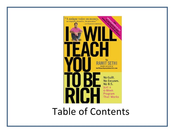 Table Of Contents Ppt For Iwillteachyoutoberich Book