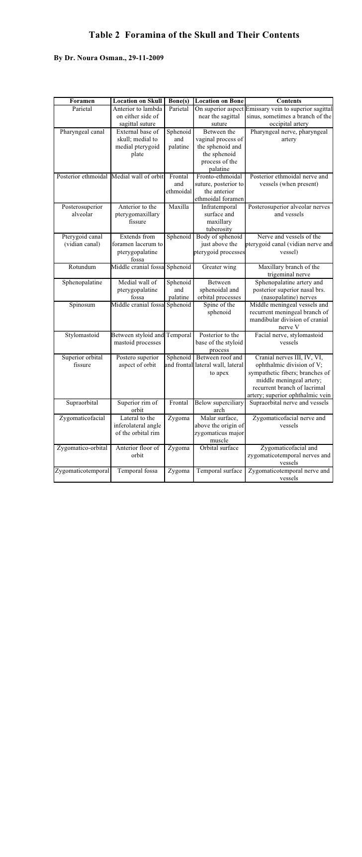 Table 2 Foramina Of Skull