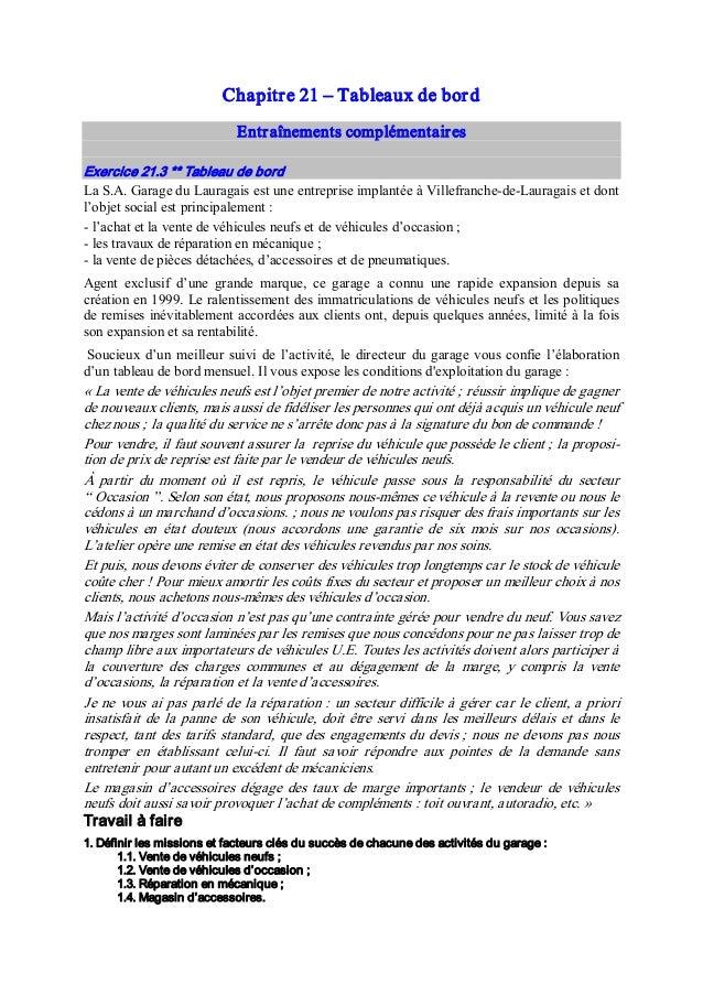 Chapitre21 – Tableauxdebord Entraînementscomplémentaires Exercice21.3**Tableaudebord LaS.A.GarageduLauraga...