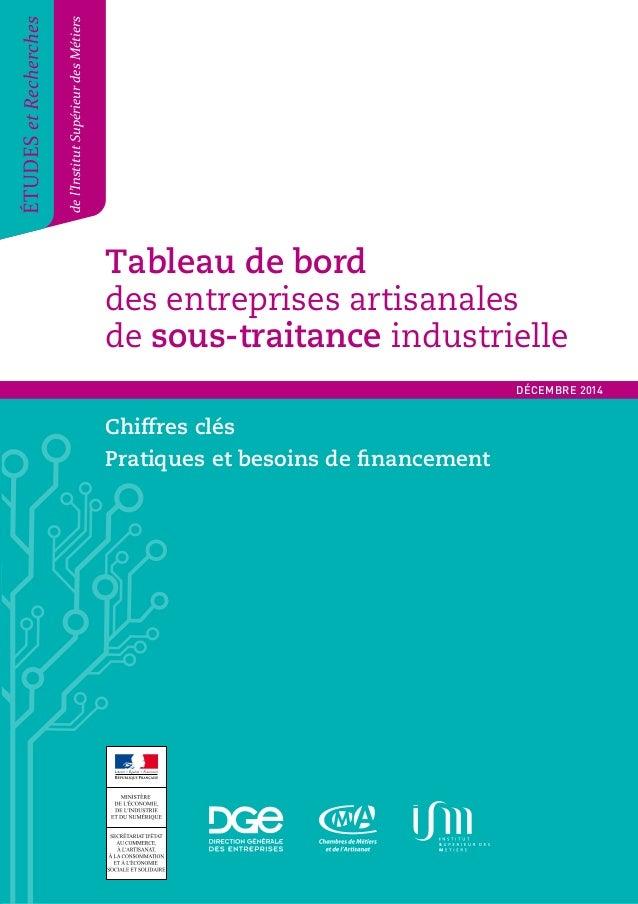 Tableau de bord  des entreprises artisanales  de sous-traitance industrielle  Tableau de bord des entreprises artisanales ...
