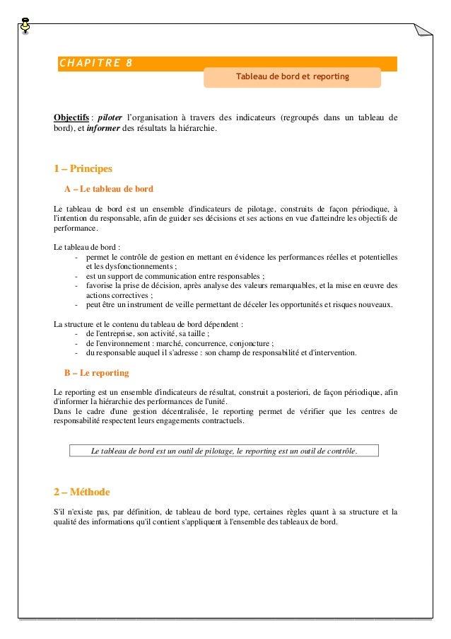 CHAPITRE 8 Tableau de bord et reporting  Objectifs : piloter l'organisation à travers des indicateurs (regroupés dans un t...