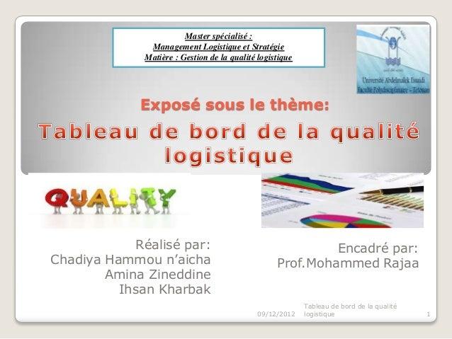 Master spécialisé :               Management Logistique et Stratégie              Matière : Gestion de la qualité logistiq...