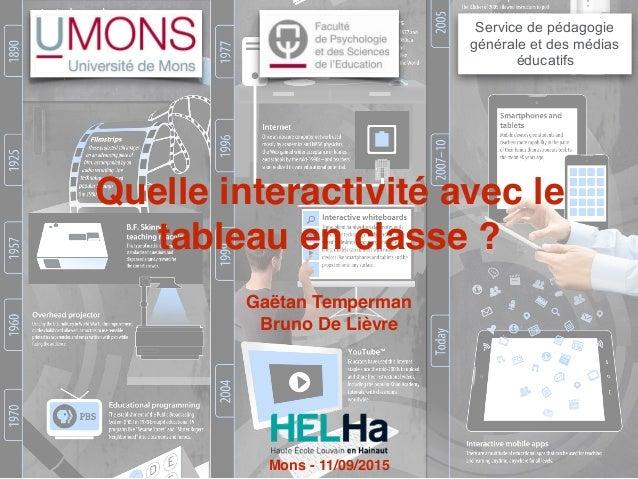 Quelle interactivité avec le tableau en classe ? Service de pédagogie générale et des médias éducatifs Gaëtan Temperman Br...