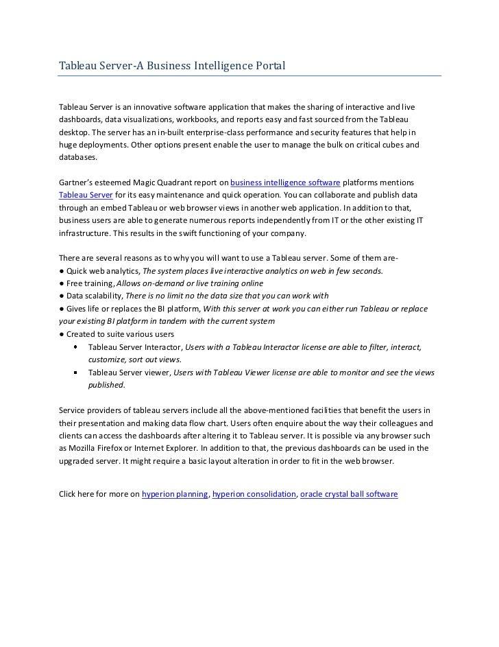 Tableau server   a business intelligence portal