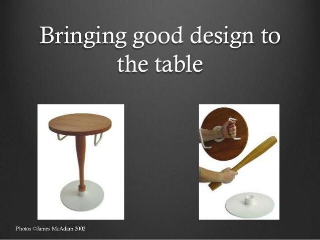 Bringing good design to               the tablePhotos ©James McAdam 2002