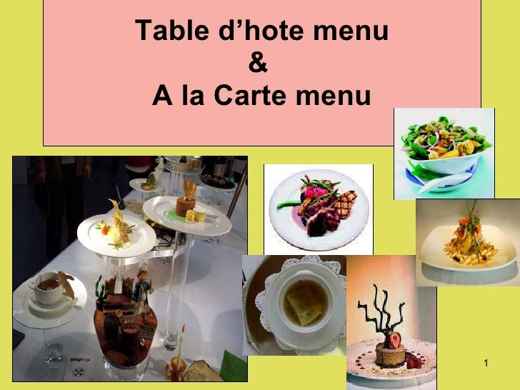 Russian Ala-carte Table Setting : Table Dhote Menu