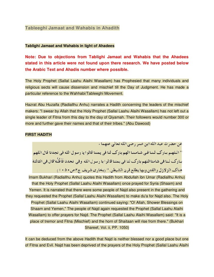 Tableeghi Jamaat and Wahabis in AhadithTablighi Jamaat and Wahabis in light of AhadeesNote: Due to objections from Tabligh...