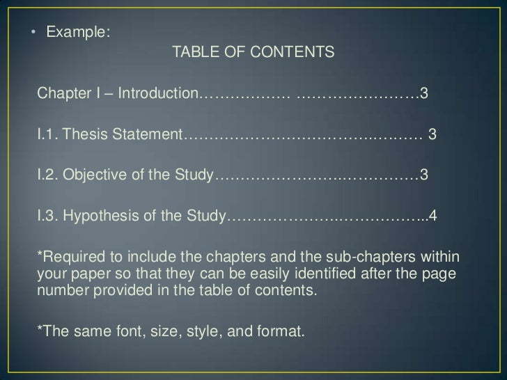 Sample table of contents for research paper