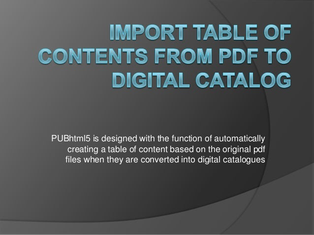 Import Table of Contents from PDF to digital catalog
