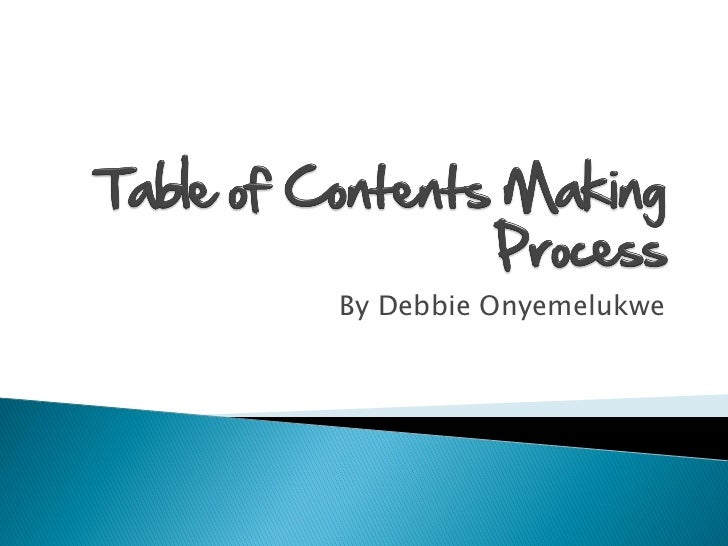 Table of contents making process pdf