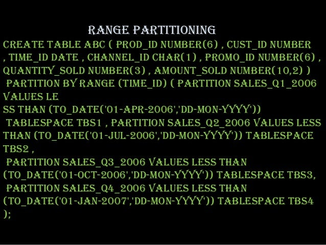 RANGE PARTITIONINGCREATE TABLE abc ( prod_id NUMBER(6) , cust_id NUMBER, time_id DATE , channel_id CHAR(1) , promo_id NUMB...