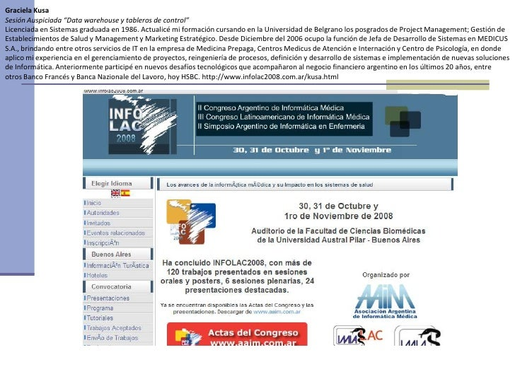 Tablero BI presentado en Congreso INFOLAC