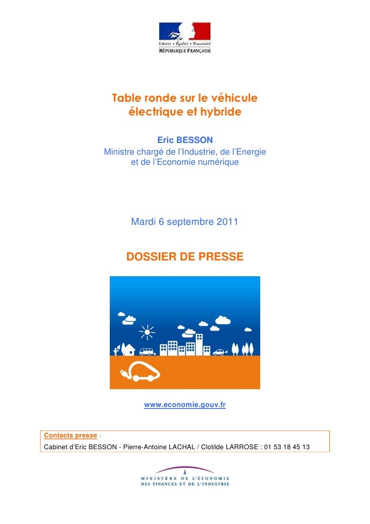 Table ronde vehicule electrique et hybride septembre 2011