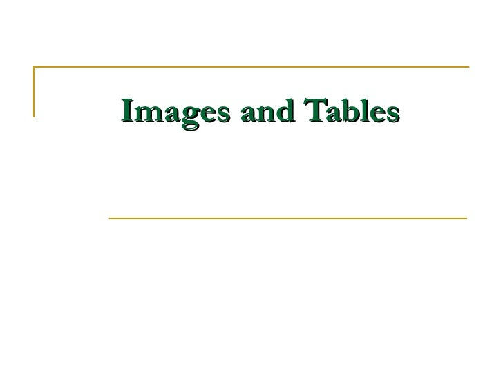 Images and Tables