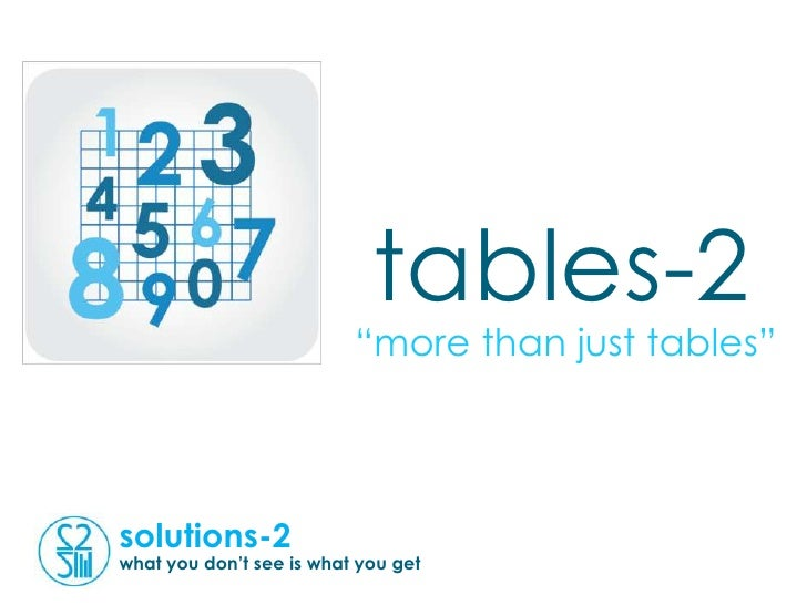 """tables-2                          """"more than just tables""""solutions-2what you don't see is what you get"""