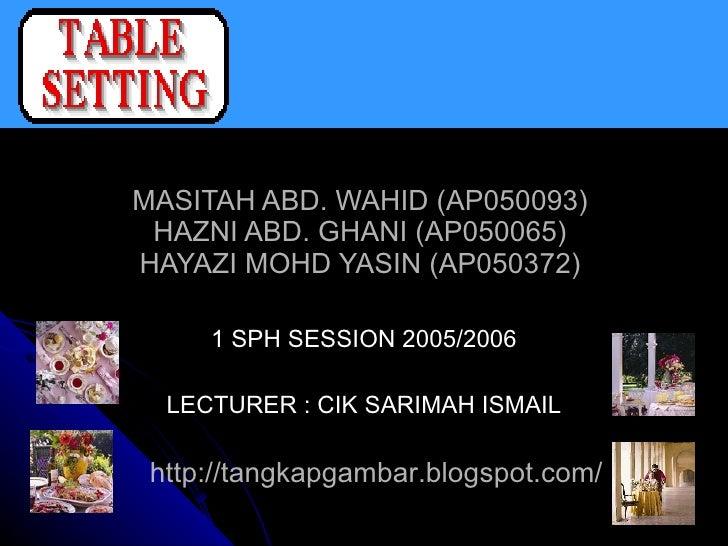 MASITAH ABD. WAHID (AP050093)  HAZNI ABD. GHANI (AP050065)  HAYAZI MOHD YASIN (AP050372)  1 SPH SESSION 2005/2006 LECTURER...