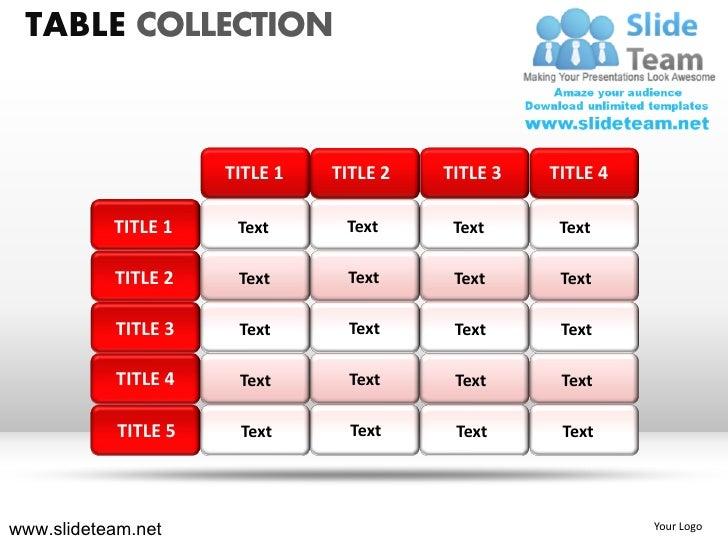 TABLE COLLECTION                      TITLE 1   TITLE 2   TITLE 3   TITLE 4           TITLE 1     Text      Text      Text...