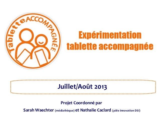 Juillet/Août 2013 Projet Coordonné par Sarah Waechter (médiathèque) et Nathalie Caclard (pôle innovation DSI)